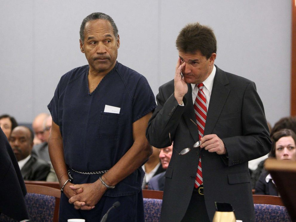 PHOTO: OJ Simpson stands in court with attorney Yale Galanter during his sentencing at the Clark County Regional Justice Center, Dec. 5, 2008, in Las Vegas.