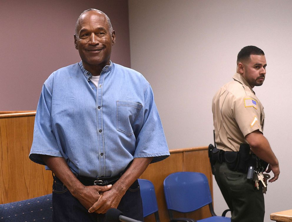 PHOTO: In this July 20, 2017, file photo, former NFL football star O.J. Simpson enters for his parole hearing at the Lovelock Correctional Center in Lovelock, Nevada.