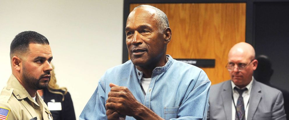 PHOTO: O.J. Simpson reacts after learning he was granted parole at Lovelock Correctional Center in Lovelock, Nev., on July 20, 2017.