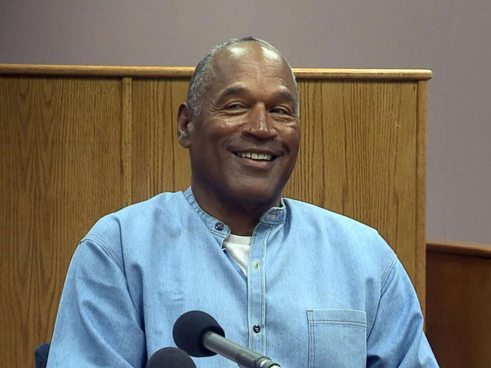 PHOTO: O.J. Simpson reacts after he was mistakenly asked by a parole official if he had recently turned 90 during his parole hearing at the Lovelock Correctional Center in Lovelock, Nevada, July 20, 2017.