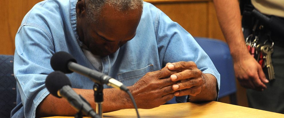PHOTO: O.J. Simpson reacts after learning he was granted parole at Lovelock Correctional Center in Lovelock, Nev., July 20, 2017.
