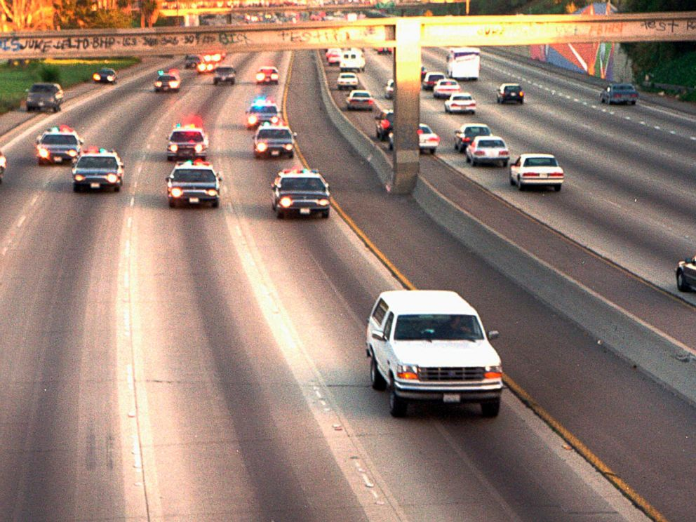 PHOTO: A white Ford Bronco, driven by Al Cowlings carrying O.J. Simpson, is trailed by Los Angeles police cars as it travels on a freeway in Los Angeles, June 17, 1994.