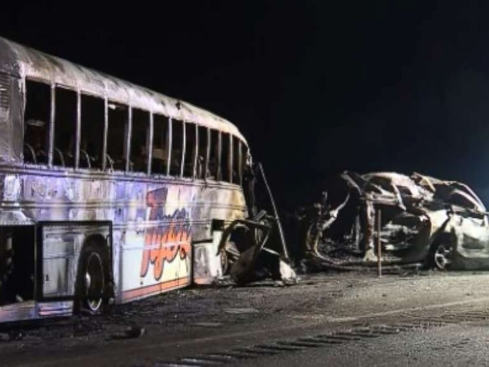 PHOTO: Three people were killed, including one student, when a bus carrying a middle school softball team collided with an SUV in Seminole County, Okla., on Friday, March 8, 2019.