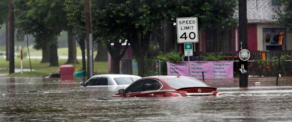 PHOTO: Heavy rains overwhelmed stormwater drainage systems and caused flooded streets, requiring high water rescues in Oklahoma City as another round of severe storms passes through the metro area Thursday, June 6, 2019.