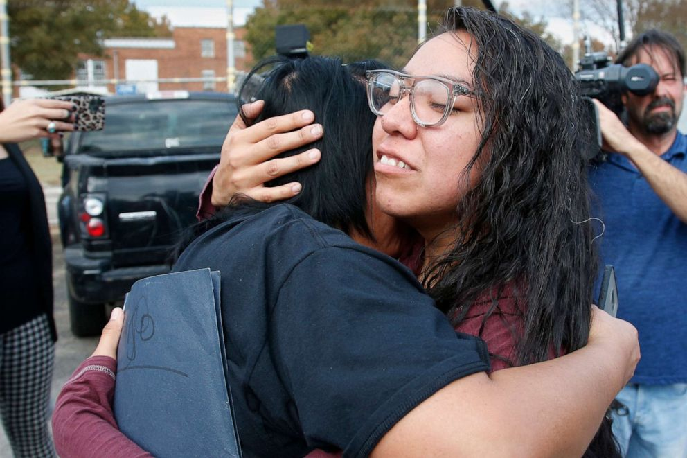 PHOTO: Tess Harjo, right, embraces her aunt Sarah Taylor, left, after being released from Eddie Warrior Correctional Center Monday, Nov. 4, 2019, in Taft, Okla.