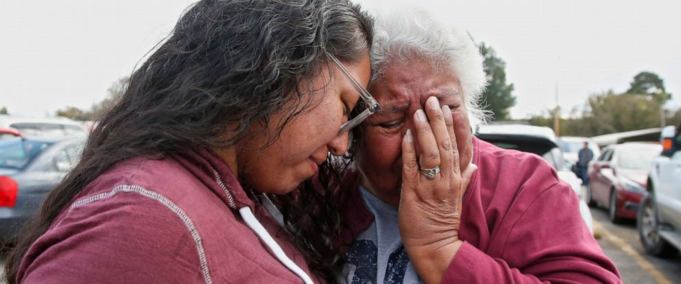 PHOTO: Tess Harjo, left, embraces her grandmother, Sally Taylor, right, after being released from the Eddie Warrior Correctional Center Monday, Nov. 4, 2019, in Taft, Okla.