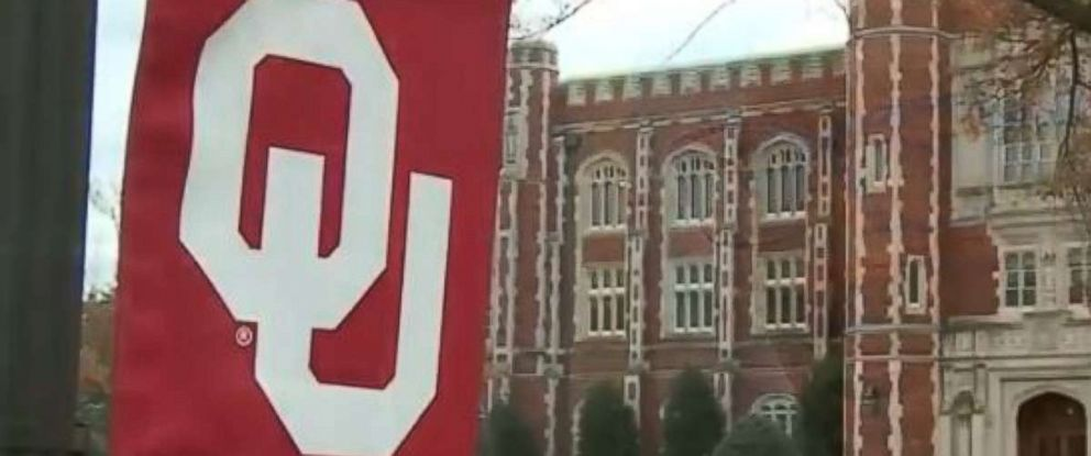 PHOTO: A banner hangs on the campus of the University of Oklahoma in Norman, Okla.
