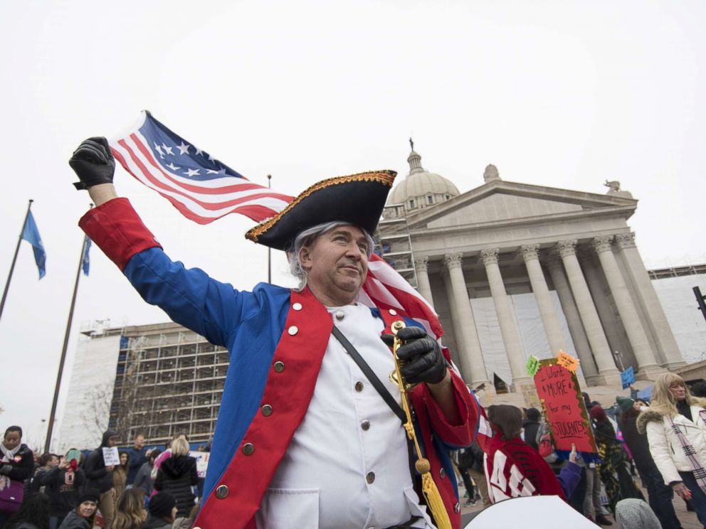 PHOTO: A man portraying Lt. Samuel Nicholson, the first U.S. Marine, joins the teachers rally at the state capitol, April 2, 2018, in Oklahoma City.
