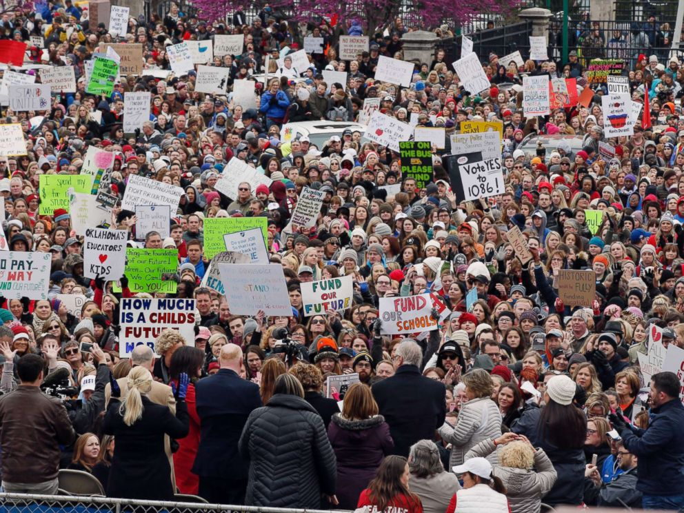 PHOTO: The crowd cheers during a teacher rally at the state Capitol in Oklahoma City, April 2, 2018. Teachers were holding separate protests in Oklahoma and Kentucky on Monday to voice dissatisfaction with issues like pay and pensions.