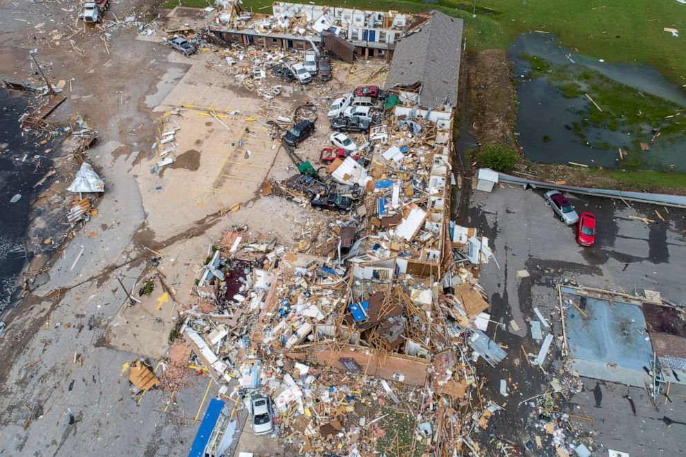 PHOTO: Damage to the American Budget Value Inn is seen in an aerial photo after a tornado touched down overnight in El Reno, Okla., May 26, 2019.