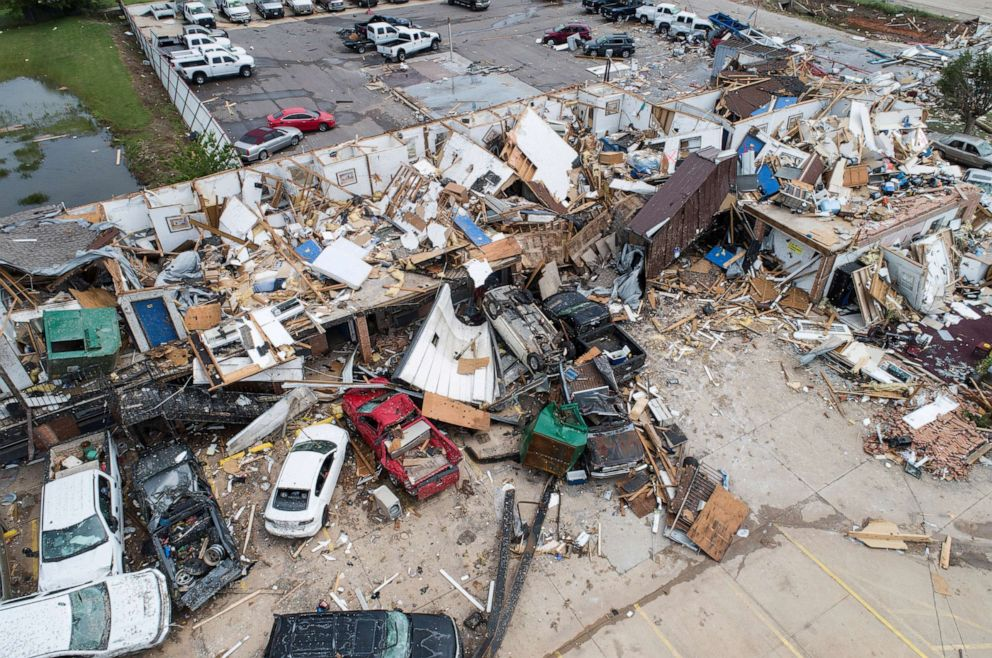 PHOTO: Damage to the American Budget Value Inn after a tornado touched down overnight in El Reno, Oklahoma, May 26, 2019.