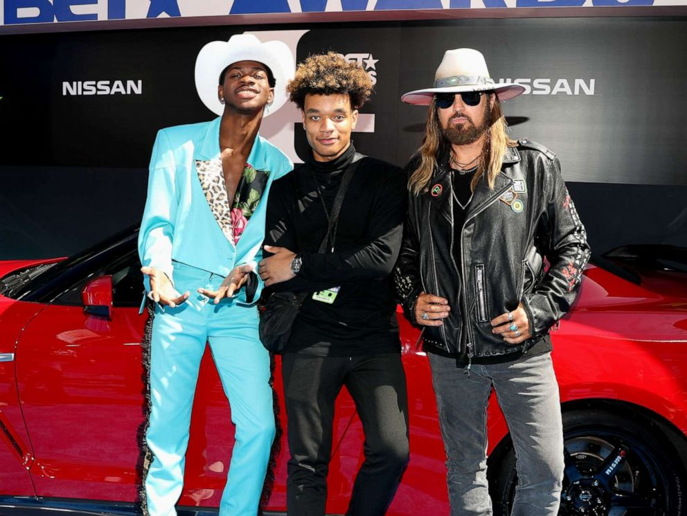 PHOTO: Lil Nas X, YoungKio, and Billy Ray Cyrus attend the 2019 BET Awards at Microsoft Theater on June 23, 2019 in Los Angeles.