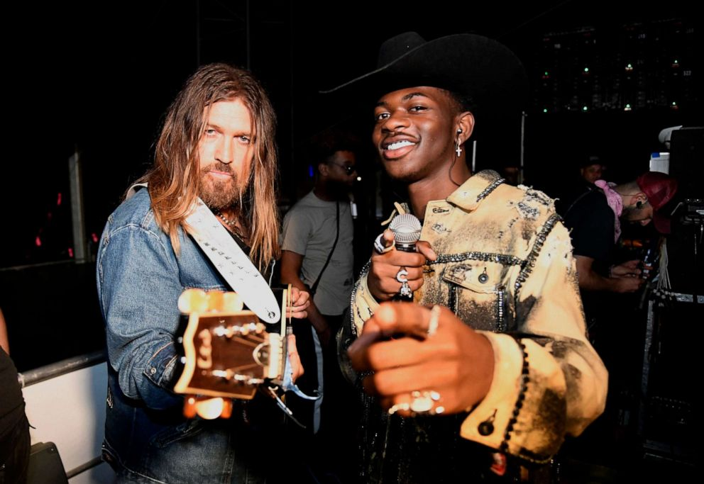 PHOTO: Billy Ray Cyrus (L) and Lil Nas X pose backstage during the 2019 Stagecoach Festival on April 28, 2019 in Indio, Calif.