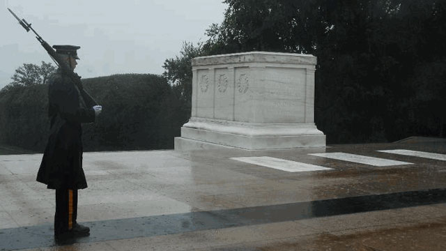PHOTO: A lone Tomb Sentinel, 3d U.S. Infantry Regiment (The Old Guard), walks his tour in humble reverence during Hurricane Irene in Arlington National Cemetery, Va., Aug 27.
