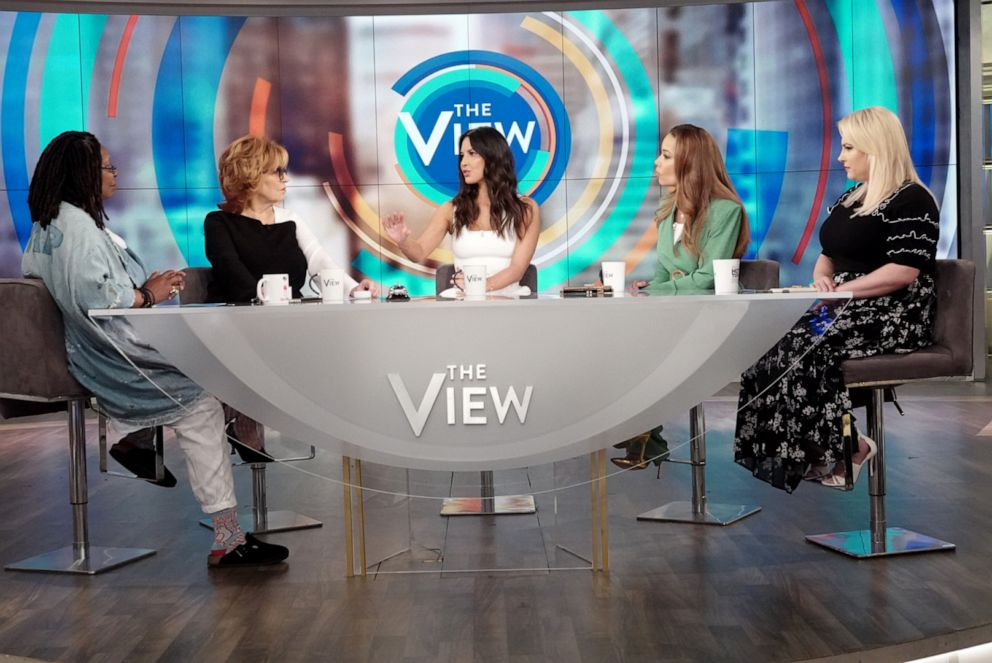 PHOTO: Actress Olivia Munn, center, discusses the #MeToo movement with The View co-hosts Whoopi Goldberg, Joy Behar, Sunny Hostin, and Meghan McCain, June 24, 2019.