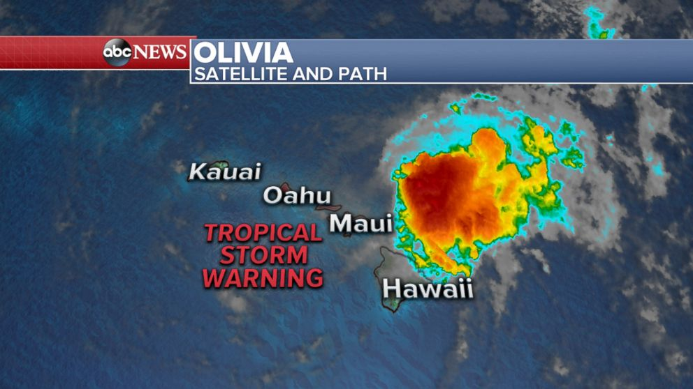 A Tropical Storm Warning remains in effect for some of the Hawaiian Islands, Sept. 12, 2018.