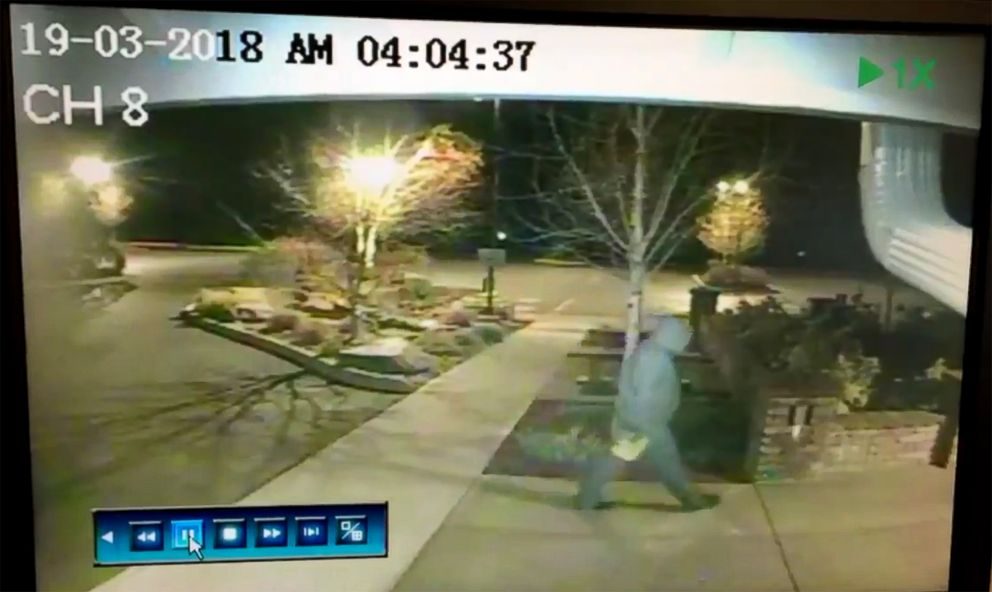 PHOTO: The Olympia, Washington police department released this surveillance video on their twitter account showing footage of the suspect and the arson attack at Olympias Kingdom Hall of the Jehovahs Witnesses, March 19, 2018.