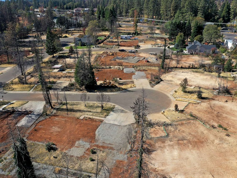 PHOTO: This photo taken on Oct. 21, 2019, shows an aerial view of a neighborhood destroyed by the Camp Fire in Paradise, California.