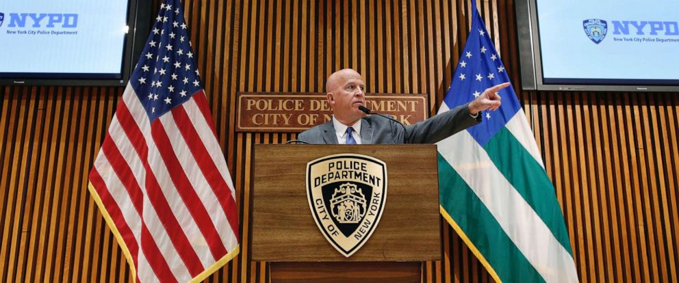 PHOTO: New York Police Department (NYPD) Commissioner James P. ONeill speaks at a news conference at Police Headquarters in New York, Aug. 19, 2019.