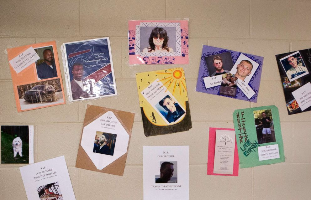 PHOTO: A memorial wall in the HARP pod honors participants who have died due to heroin overdoses after leaving the program and serves as a subtle reminder of the dangers they face after release.