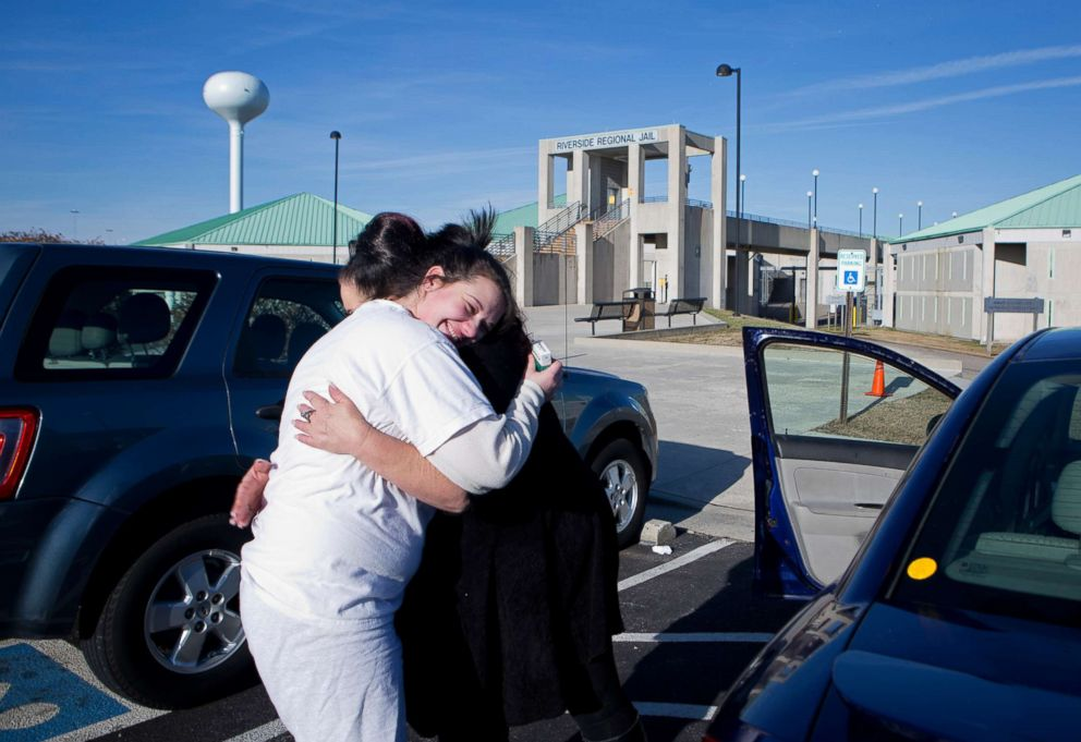 PHOTO: Deborah Crowder hugs her daughter Stephanie as she is being released from jail, Jan. 27, 2018.