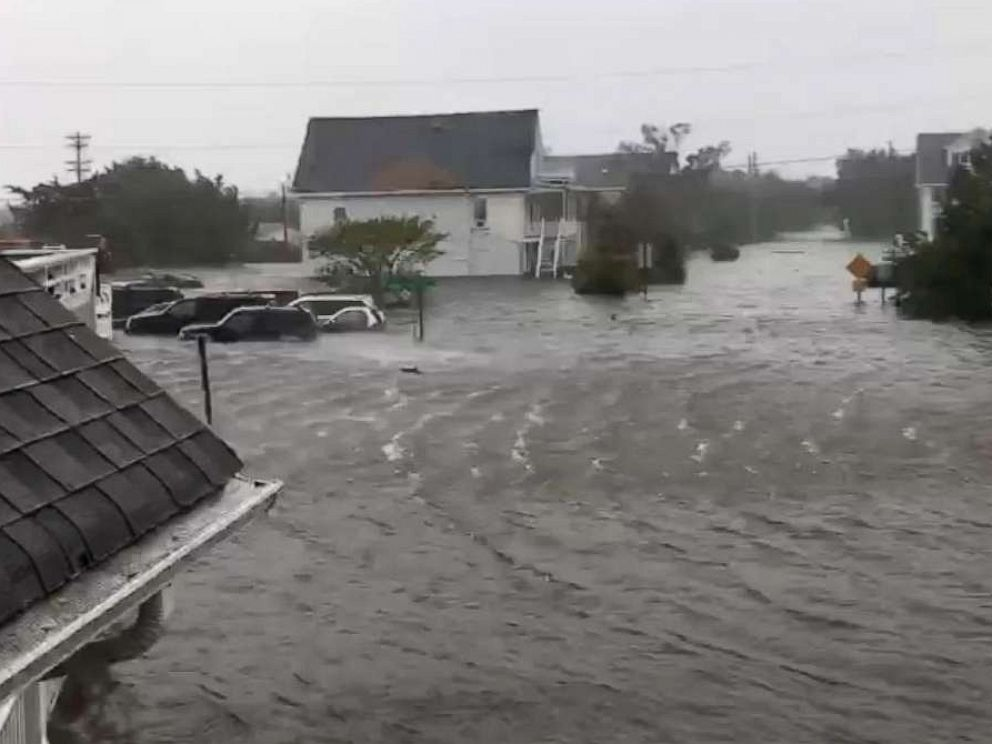 PHOTO: Flooding fills the streets of Ocracoke Island, N.C., Sept. 6, 2019 as Hurricane Dorian passes.