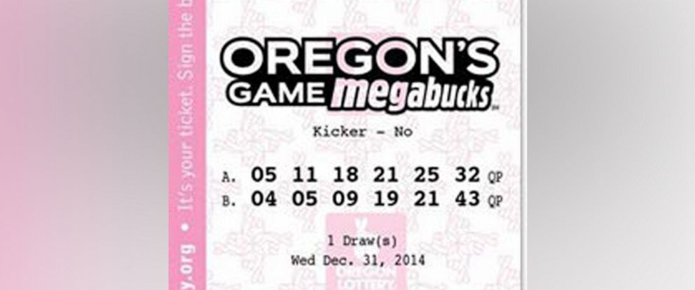 PHOTO: Oregon's Game Megabucks lottery ticket.