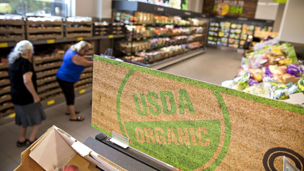 """A """"USDA Organic"""" is displayed in the produce department of a food market in Chicago, Aug. 1, 2017."""