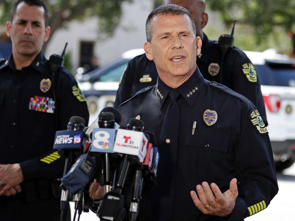 PHOTO: Orlando Police Chief John Mina answers questions at a news conference during a hostage standoff, June 11, 2018, in Orlando, Fla.