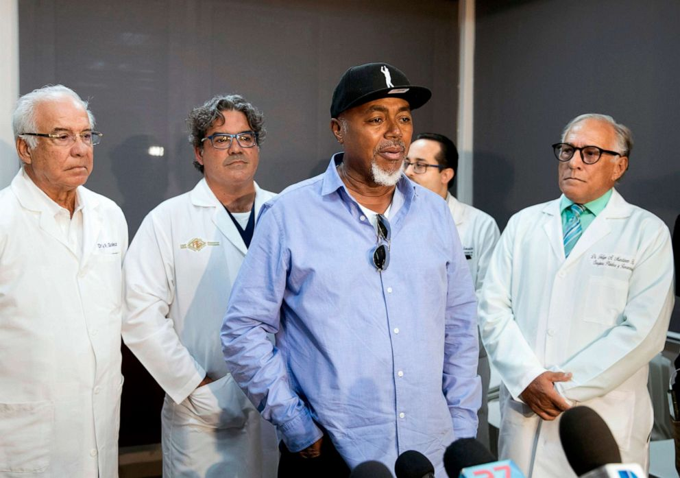 PHOTO: Accompanying the medical team, the father of former Red Sox player David Ortiz, Leo Ortiz, speaks to the press on June 10, 2019 during a press conference at the clinic where David was admitted after shot in Santo Domingo, Dominican Republic.