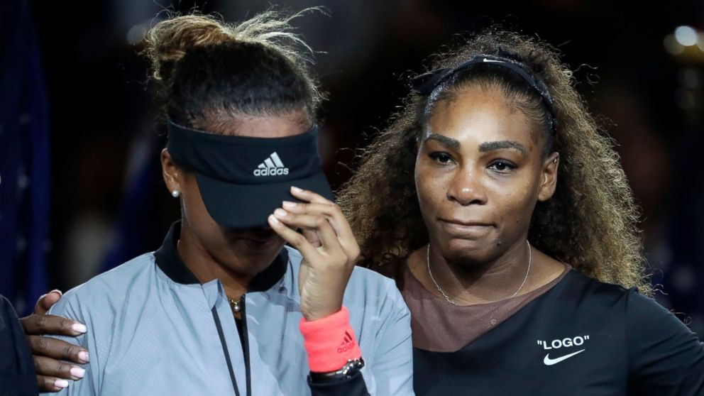 Naomi Osaka, of Japan, is hugged by Serena Williams after Osaka defeated Williams in the women's final of the U.S. Open tennis tournament, Saturday, Sept. 8, 2018, in New York.