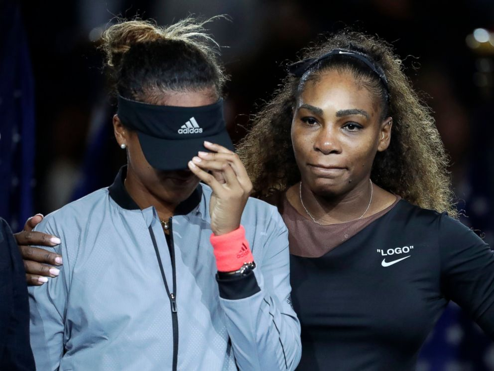 PHOTO: Naomi Osaka, of Japan, is hugged by Serena Williams after Osaka defeated Williams in the womens final of the U.S. Open tennis tournament, Saturday, Sept. 8, 2018, in New York.