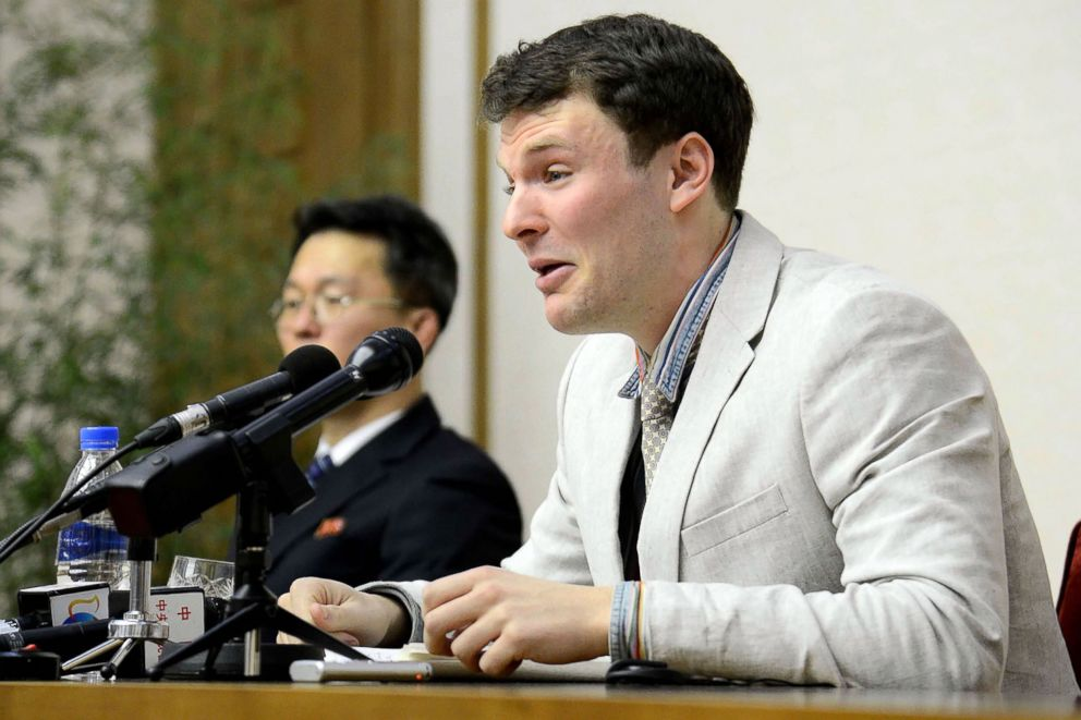 PHOTO: US  Oddo  Warmbier, who was Nabbed for committing Hostility acts Gainst  Hanguk, Speaks at a Press Conferences in PyongYang, Feb. 29, 2016.
