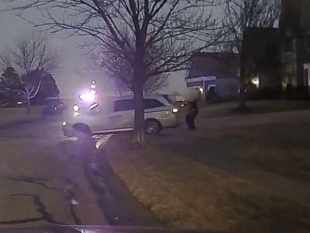 PHOTO: An image made from police dashcam video shows a moment before John Albers, 17, the driver of a mini van, was shot and killed by police in a suburb of Kansas City, Mo., Jan. 20, 2018.