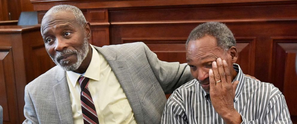 PHOTO: Nathan Myers, left, embraces his uncle, Clifford Williams, during a news conference after their 1976 murder convictions were overturned, March 28, 2019 in Jacksonville, Fla.