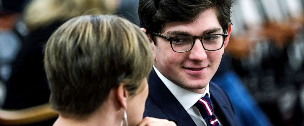 PHOTO: Owen Labrie talks with lawyer Robin Melone during a court hearing, Nov. 28, 2018, in Concord, N.H.
