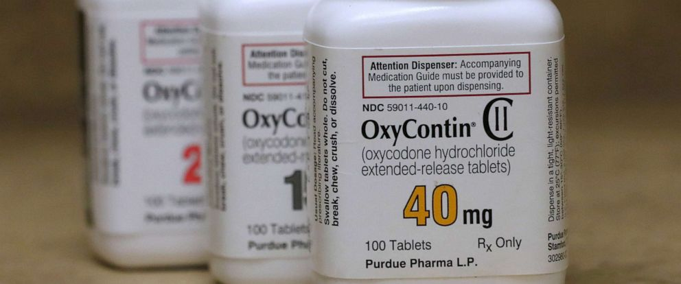 PHOTO: In this file photo bottles of prescription painkiller OxyContin pills, made by Purdue Pharma LP sit on a counter at a local pharmacy in Provo, Utah, April 25, 2017.