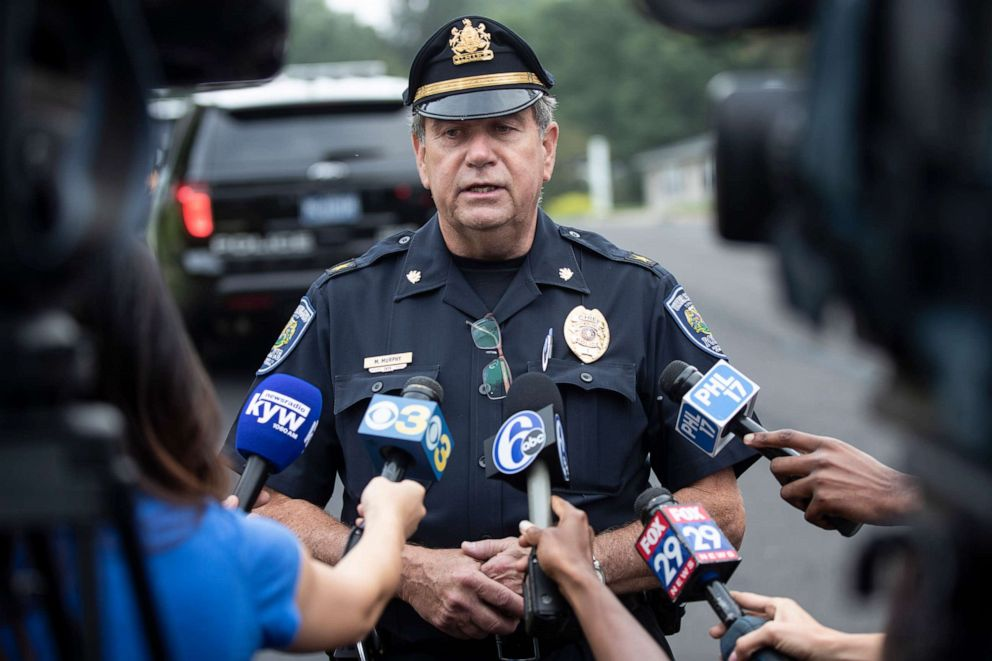 PHOTO: Upper Moreland Police Chief Michael Murphy speaks with members of the media about a small plane crash sets in a residential neighborhood in Upper Moreland, Pa., Thursday, Aug. 8, 2019.