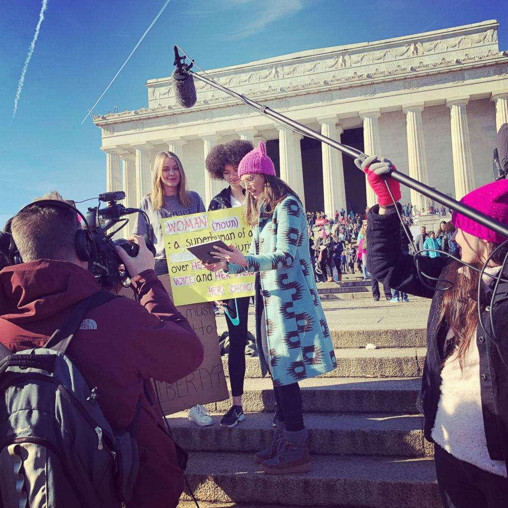 PHOTO: Sarah Sherman speaks to other women at the 2018 Womens March in Washington, D.C.