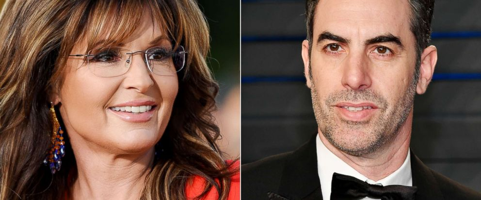 PHOTO: From left: Sarah Palin is pictured on Dec. 4, 2015 in Universal City, Calif.| Sacha Baron Cohen attends an event on March 4, 2018, in Beverly Hills, Calif.