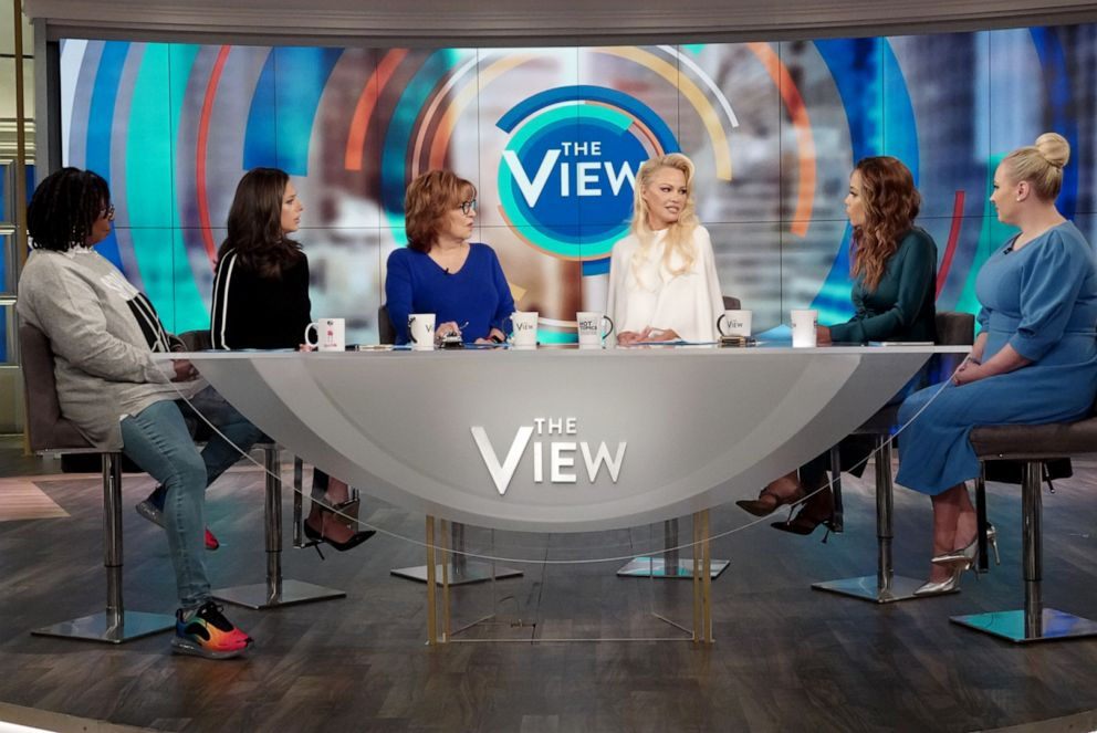 PHOTO: Pamela Anderson speaks out about Julian Assange with The View co-hosts Whoopi Goldberg, Abby Huntsman, Joy Behar, Sunny Hostin, and Meghan McCain, Sept. 6, 2019, in her first TV interview since visiting him in May.