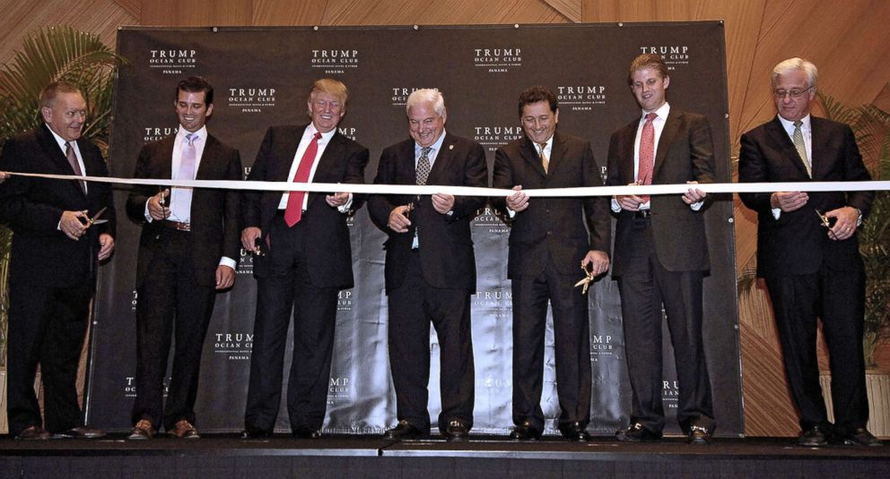 PHOTO: From left, businessmen Mark Stevenson, Donald Trump Jr., Donald Trump, Panamas President Ricardo Martinelli, Roger Kaffif, Eric Trump and Jim Ptrus, inaugurate the Trump Ocean Club in Panama City on July 6, 2011.