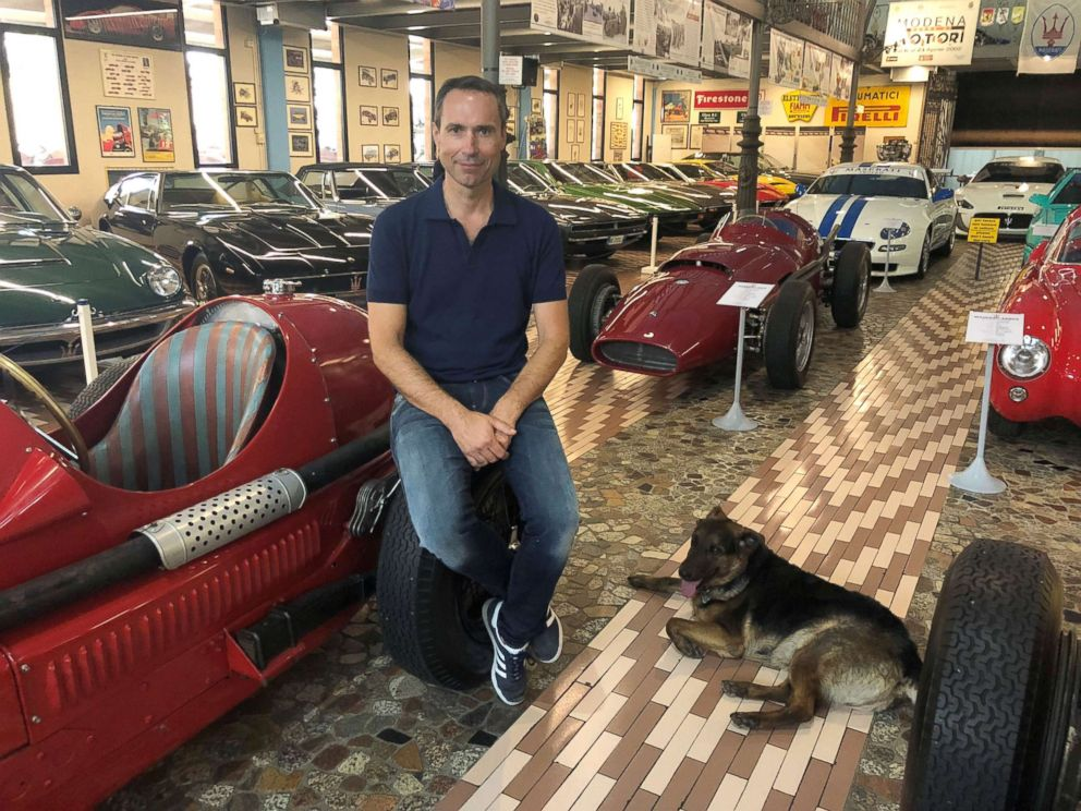 PHOTO: Matteo Panini, with his dog named Car, said his father purchased the collection in 1996 for the passion and respect of the people in Modena.