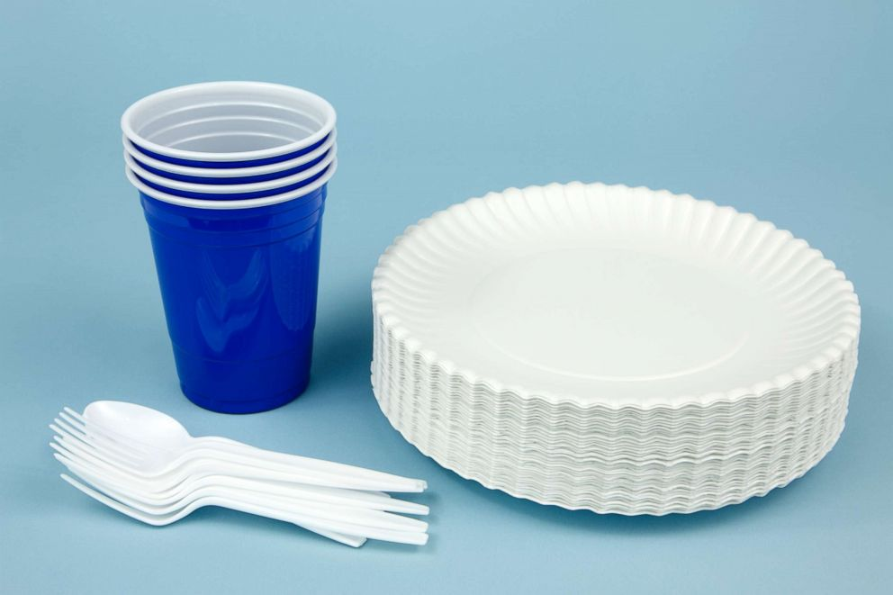 PHOTO: Disposable plates and cups are seen in this stock photo.