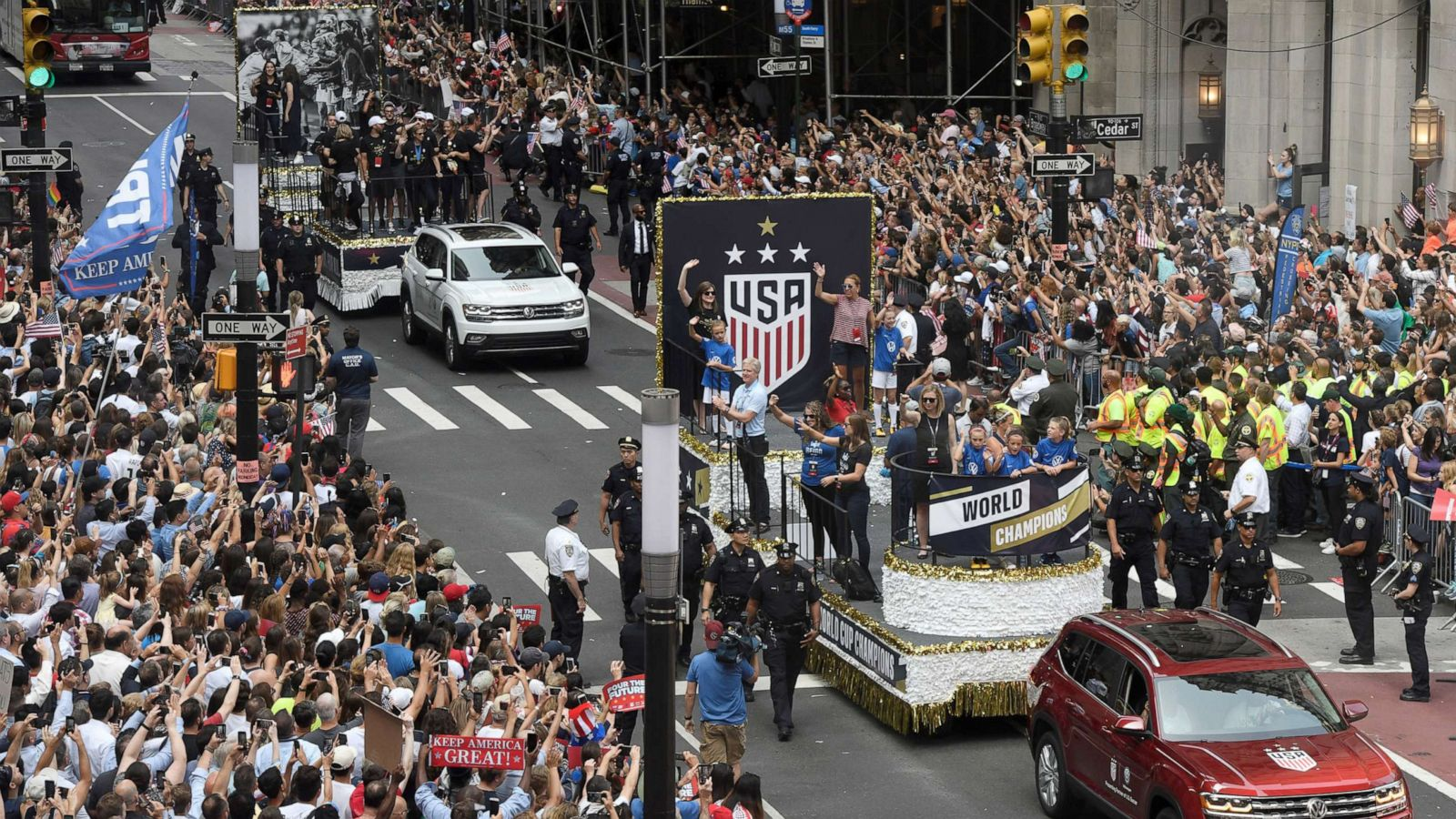 US women's soccer World Cup ticker tape parade marked by