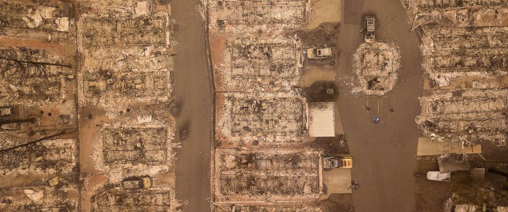 PHOTO: A burned neighborhood is seen from above in Paradise, Calif., Nov.15, 2018.