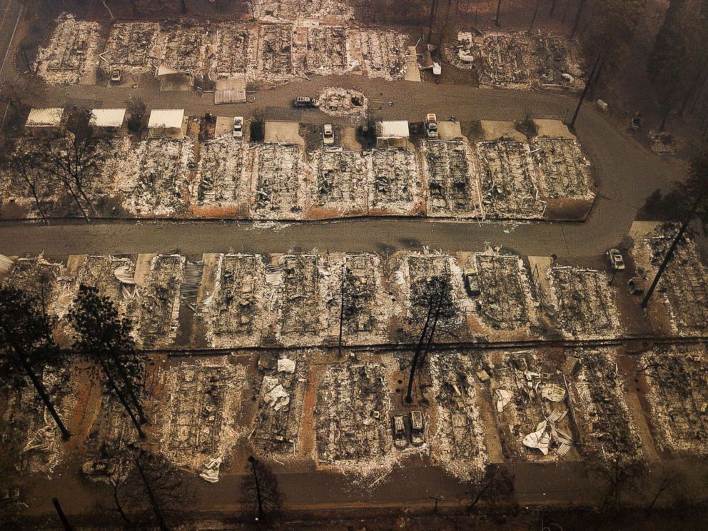 PHOTO: Ashes and debris are all that remain where houses once stood in Paradise, Calif., on Nov. 15, 2018, after a wildfire destroyed the town.
