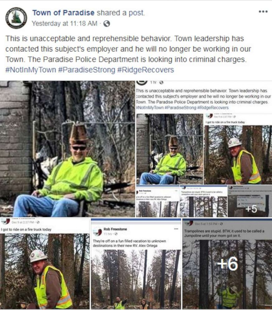PHOTO: After seeing this post the administrator for the Town of Paradise Facebook page shared it and wrote This is unacceptable and reprehensible behavior.