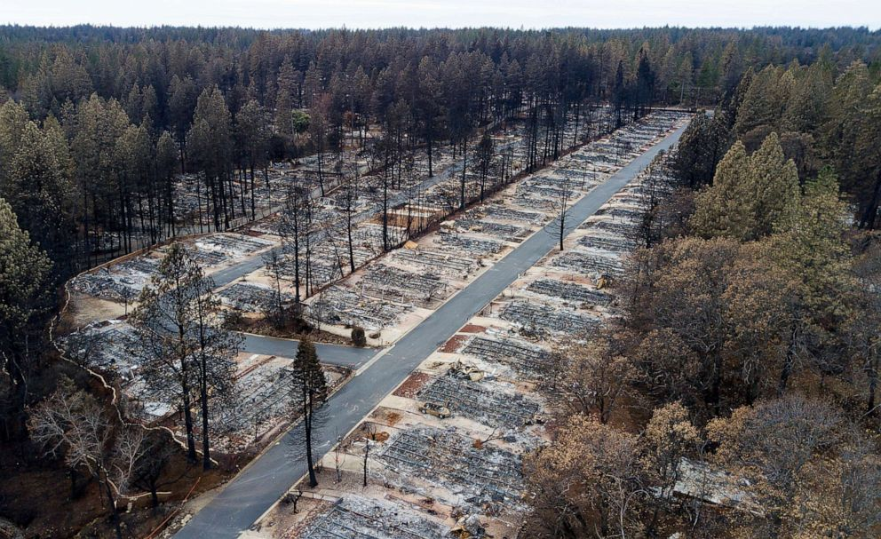 PHOTO: In this file photo taken on Dec. 3, 2018, homes leveled by the Camp Fire line the Ridgewood Mobile Home Park retirement community in Paradise, California.