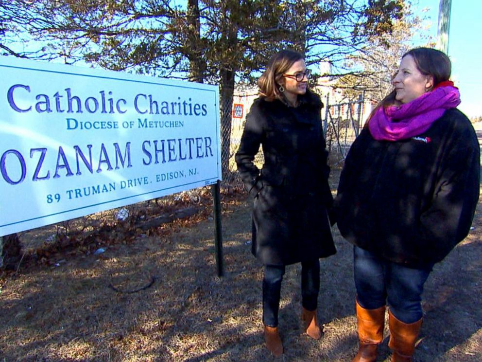 PHOTO: Ellen Eberle and ABC News Paula Faris stand outside of the homeless shelter where Eberle says she lived with her children shortly after she separated from their father.